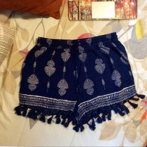 Pants - Blue and White Patterned Tassel Shorts